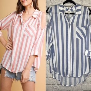NWT Umgee Striped Cold Shoulder Blouse Size M